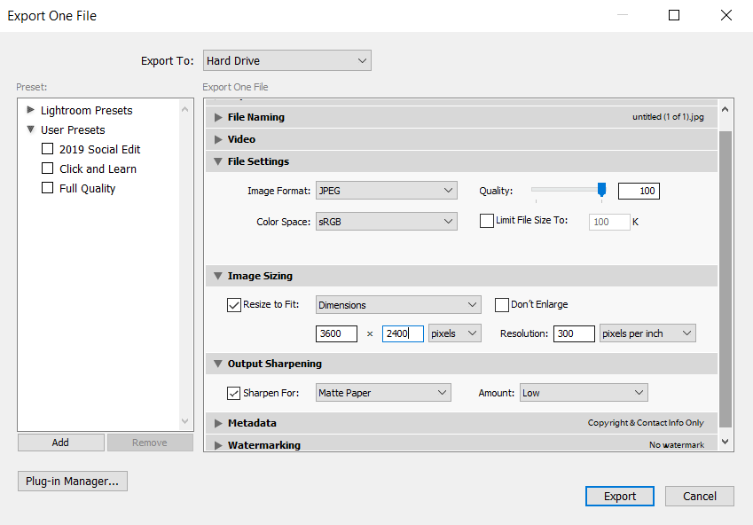 Lightroom export settings for print